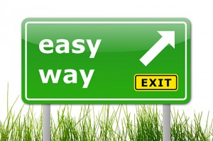 green easy way road sign