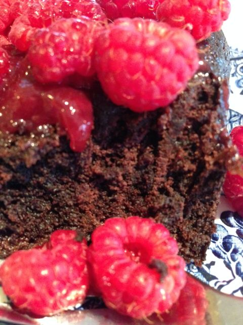 choc-cake-raspberries