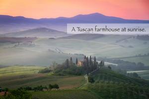 A Tuscan Farmhouse at Sunrise